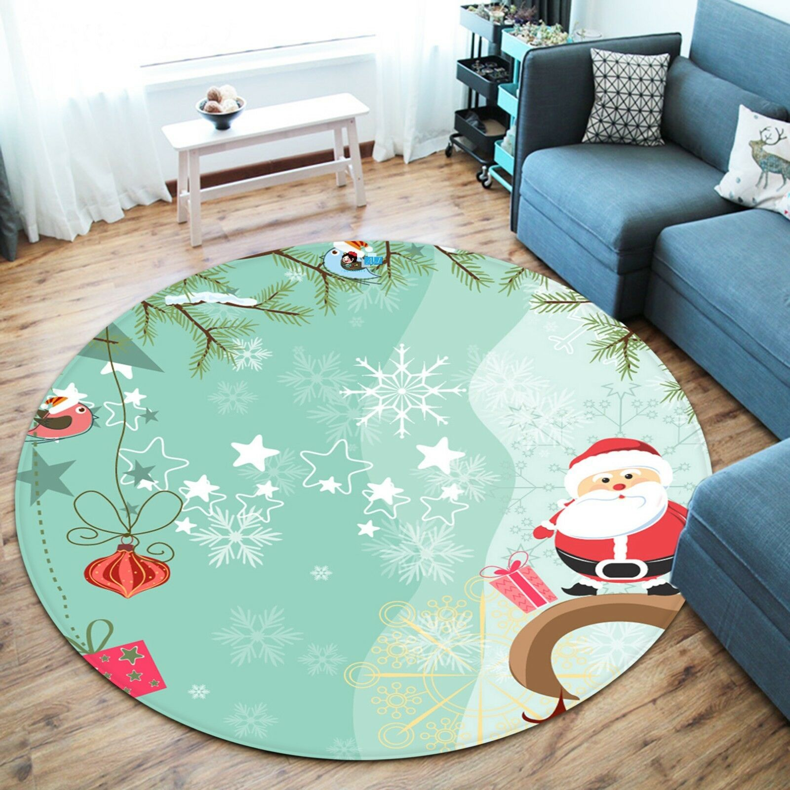 3D Christmas Xmas Poster Cute 231 Non Slip Rug Rug Rug Mat Room Mat Round Elegant Carpet 6572a5