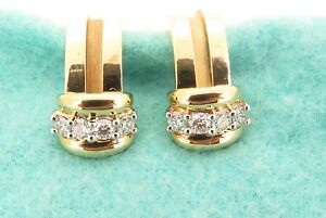 Vintage-Tiffany-amp-Co-18k-Gold-amp-Platinum-diamond-set-pair-Hoop-Earrings