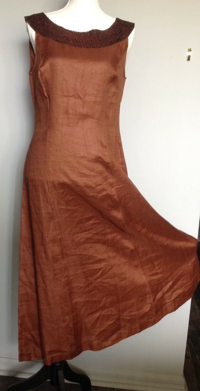 Marie St . Claire Long Brown With Beads Dress 10 Linen
