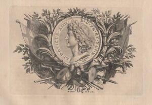 Bernard-Picart-Ornement-Ludovicus-XIIII-Louis-XIV-Jean-Varin-Gravure-originale