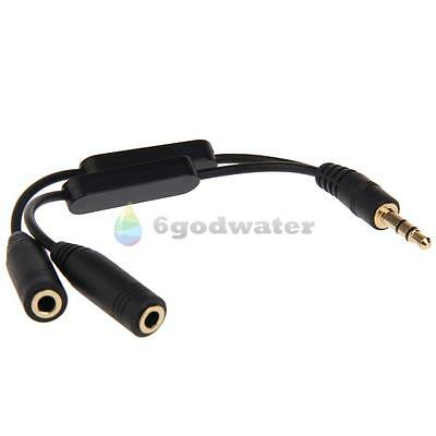 Stereo Audio 3.5mm Y Splitter 2 Female to 1 Male Cable Adapter Volume Adjustment
