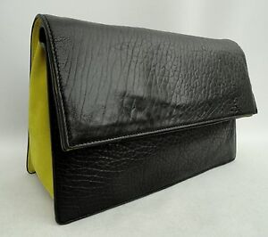 Alexander-McQueen-McQ-Large-Black-Leather-Clutch-Bag-New