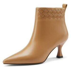 Women Smart Office 6.5cm Heel Zipper Pointy Toe Sexy Party Ankle Boots Shoes L
