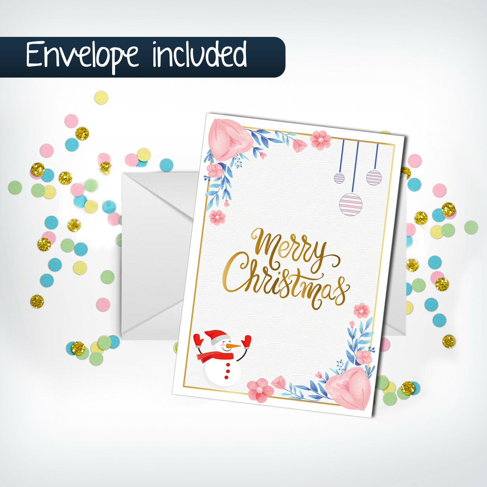 Merry Christmas Greeting Cards with Envelope Holiday Vertical Postcards Gift