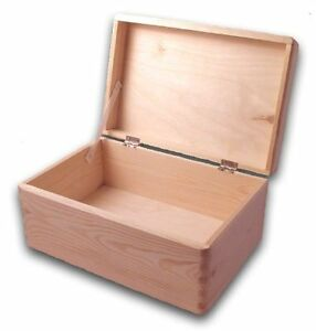Wooden Tool Box Diy Unpainted Chest Storage Natural Wood Toolbox