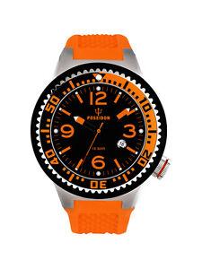 POSEIDON-Unisex-Armbanduhr-S-Analog-Silikonband-UP00417-Orange-Schw-UVP-119