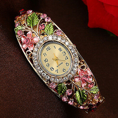 Women's Lady Charming Crystal Colored Alloy Flower Bangle Bracelet Watch Analog