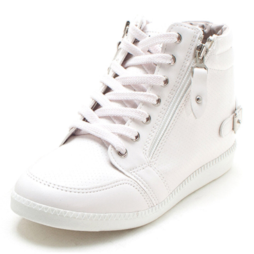 New Femme Casual Wedges High Tops Zip Lace Up Hidden Wedges Casual Chaussures Fashion Sneakers f94f39