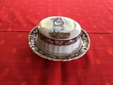 Round Butter Cheese Covered Dish Ivory with Black Pink Floral Band from Dresden