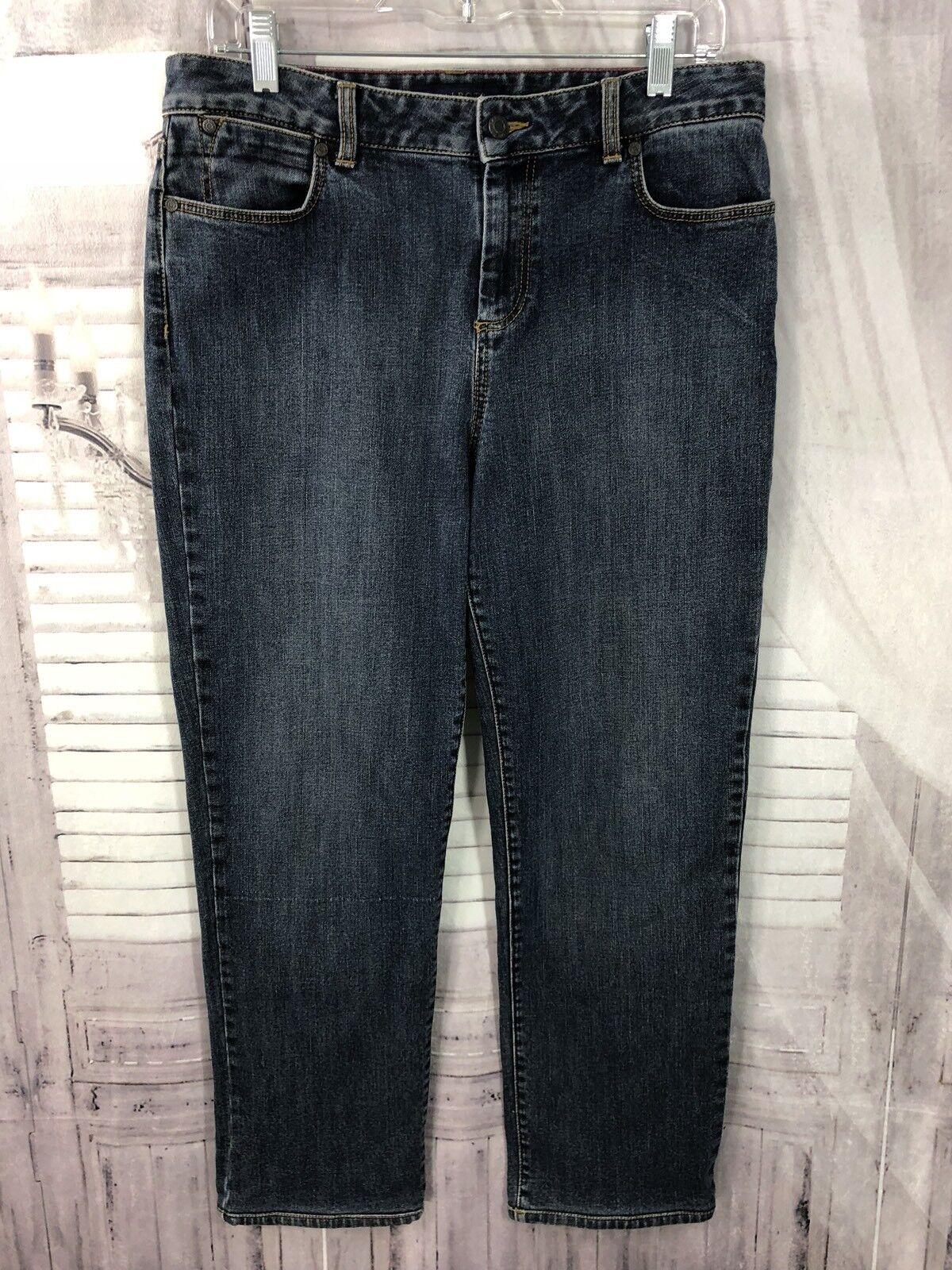 Talbots Womens Heritage Straight Leg Jeans Stretch bluee Sz 12P Petite Large