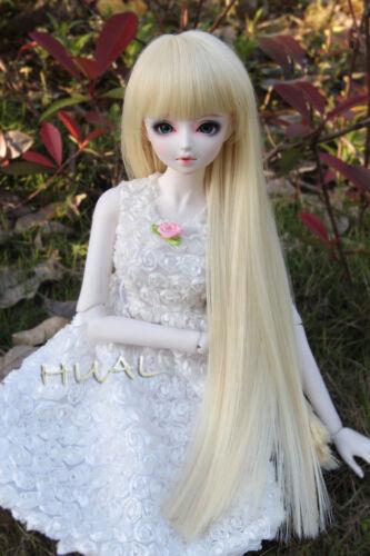 8-9 1//3 BJD Blonde Straight Long Wig LUTS Doll SD DOD MSD Dollfie Hair