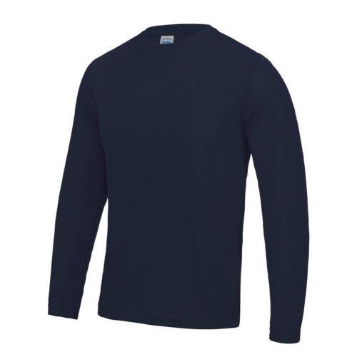 Da Uomo Manica Lunga Traspirante Antisudore Poliestere Cool Atletico T-Shirt