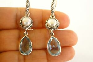 White-Mabe-Pearl-Blue-Topaz-2-Stone-925-Sterling-Silver-Dangle-Earrings