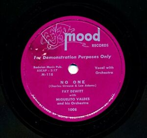 FAY-DEWITT-with-MIGUELITO-VALDES-Orchestra-on-1953-Mood-Records-1008-No-One