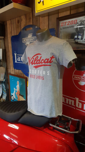 WILDCAT SCOOTERS TSHIRT T SHIRT GREY WITH RED SIGN WRITING LOGO