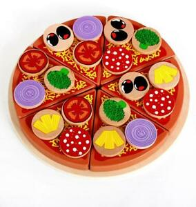 En Bois Simulation Pizza Play Toy Food Set de enfants jeu de rôle Drôle Cuisine