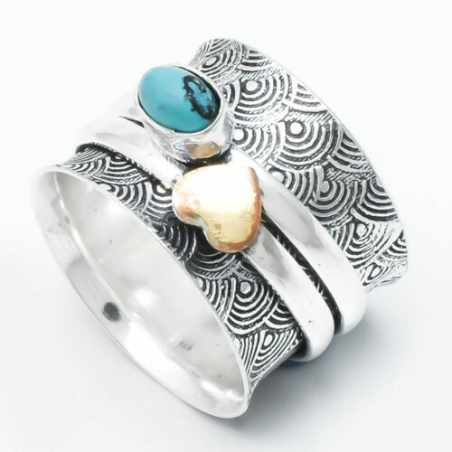 Green Turquoise Argent Sterling 925 Spinner Ring Jewelry Handmade toutes tailles B-180
