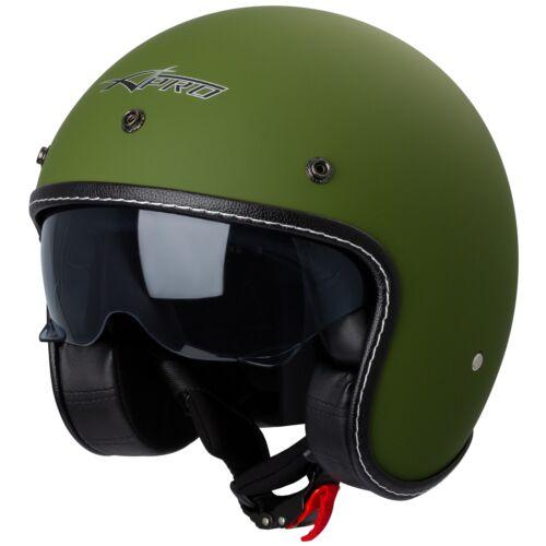 Motorradhelm Jet Cafe Racer Genehmigt Ece 22-05 Sonnenschirm Roller Grün Matt