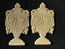 "Embossed Urn Design Birch Wood Applique - Pair - ONLAY -5.5"" x 3"""
