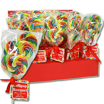 X5 = 25 MINI Count SWIRL Rainbow  Lollipops CHERRY FLAVORED
