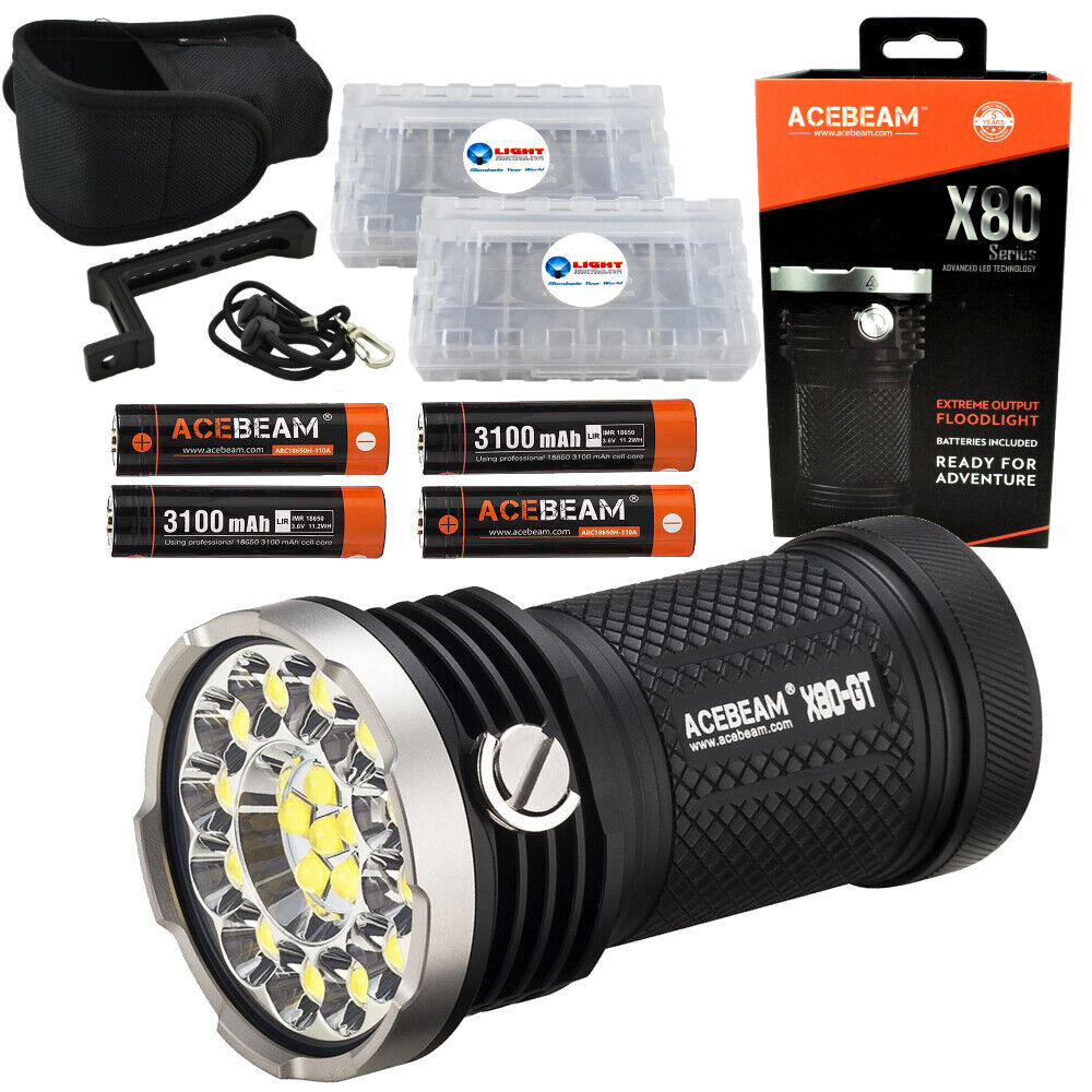 Acebeam X80-GT Searchlight Flashlight 32500 lm w  4 Extra 18650 & 2 Battery Box