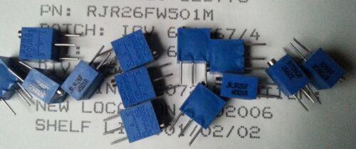 3pcs Bourns 3262 RJR26FW501M 500Ohm 10/% 1//4W 1/% 12 tour 1.78 Mm Trimmer Résistances