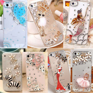 3D-Clear-Phone-Case-Cover-Hard-Bling-Jewelled-Crystal-Diamonds-Rhinestone-Skin
