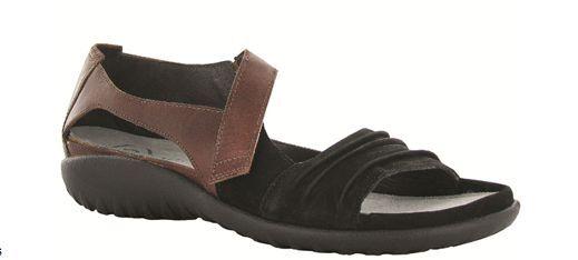 Naot Papaki Black Velvet Cinnamon Leather Sandal Women's sizes 5-11 36-42 NEW