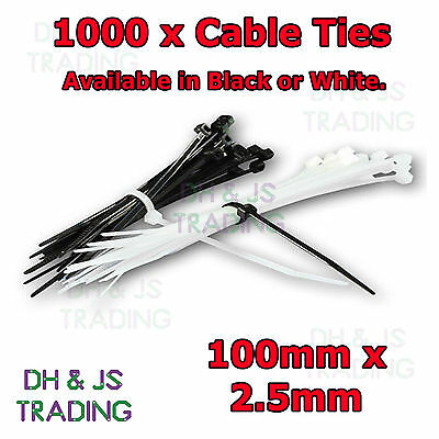 1000 Natural White Cable Ties Zip 100mm X 2.5mm