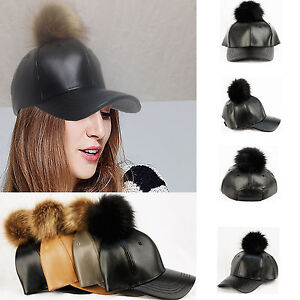 40c451e774d Fuax Leather Fur Ball Baseball Cap - POMPOM PU WINTER MEN WOMEN HAT ...