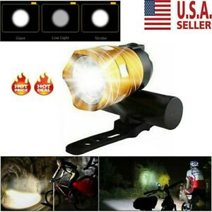 Bike Front Headlight 15000LM XM-L T6 LED MTB Rechargeable Bicycle Light w//USB