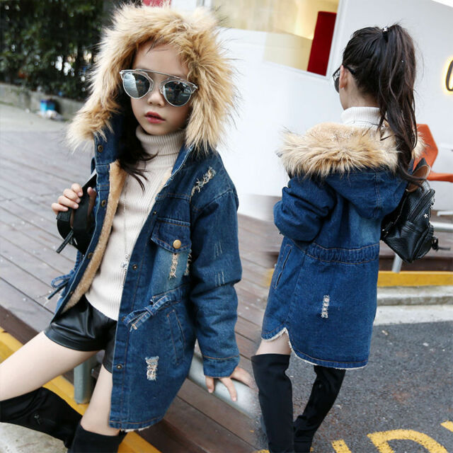 Age 5-14Y Winter Kids Girl Faux Fur Denim Casual Hoodie Hooded Coat jacket Tops
