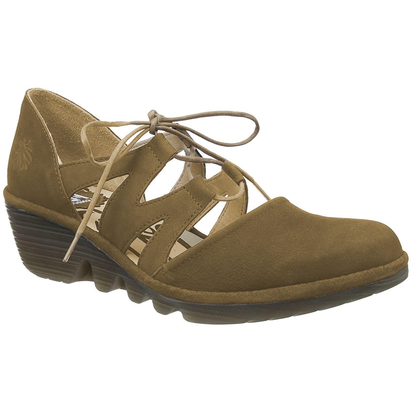 Fly London Phis 843 Sand Nubuck con Cordones para Mujer Zapatos de cuña
