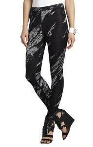 92-BCBG-Cameron-crackled-jackard-leggings-pants-black-Small-S-NWT