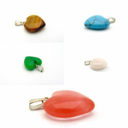 Gemstone Necklace Pendant Heart Shaped Jewellery 1.5cm Chakra Healing Reiki