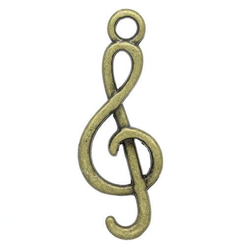 50 Charm Anhänger Bronzefarben Notenschlüssel Musiknote Tonzeichen 26mm x 9mm