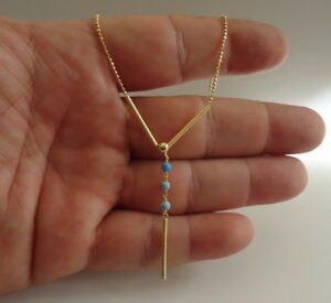 14K-YELLOW-GOLD-OVER-925-STERLING-SILVER-NECKLACE-PENDANT-W-TURQUOISE-20-039-039