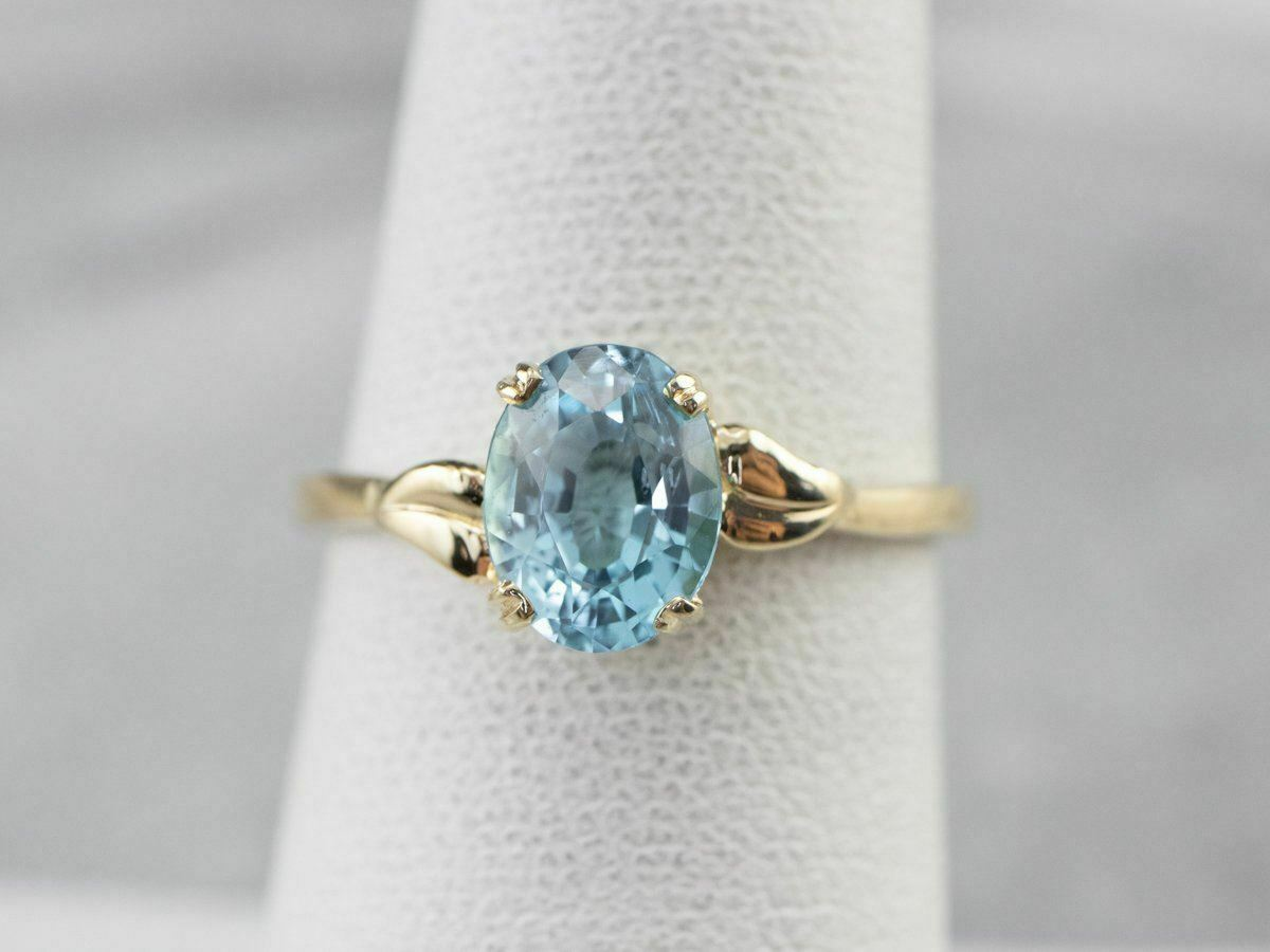 Blue Topaz Gold Solitaire Ring - image 7