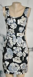 EXPRESS NEW NWT Black Gray Taupe Floral Print Sleeveless Dress 6 Lined Cotton Bd