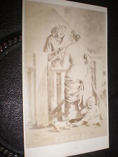 Cdv old photograph Scandal women gossiping baby crying  c1870s