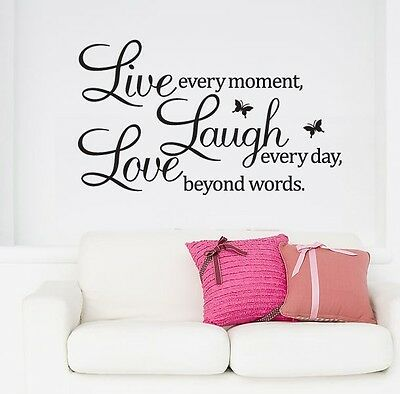 """Removable sticker Wall Quote Vinyl Decal """"Live every moment,Laugh every day"""" AU"""