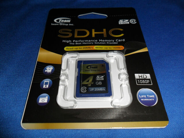 4 GB MEMORY CARD - SDHC - HIGH PERFORMANCE CLASS 10 - TEAM INTERNATIONAL