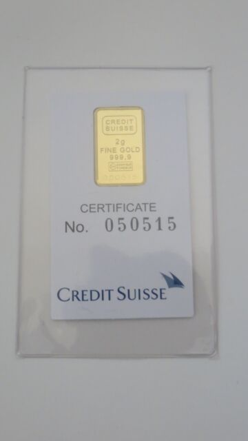 Credit Suisse Valcambi Liberty Swiss Gold bar  2 gram  .999