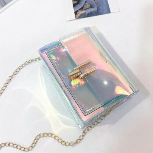 Fashion Women Transparent Laser Chain Handbag Holographic Messenger Bag G