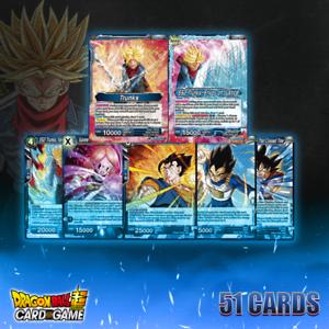 Dragon Ball Super Tcg fundida zamasu Azul pronto para torneio Deck Core 51 Cartões