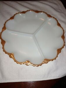 Vintage Anchor Hocking gold Scalloped Edge Milkglass Divided Condiment plate...