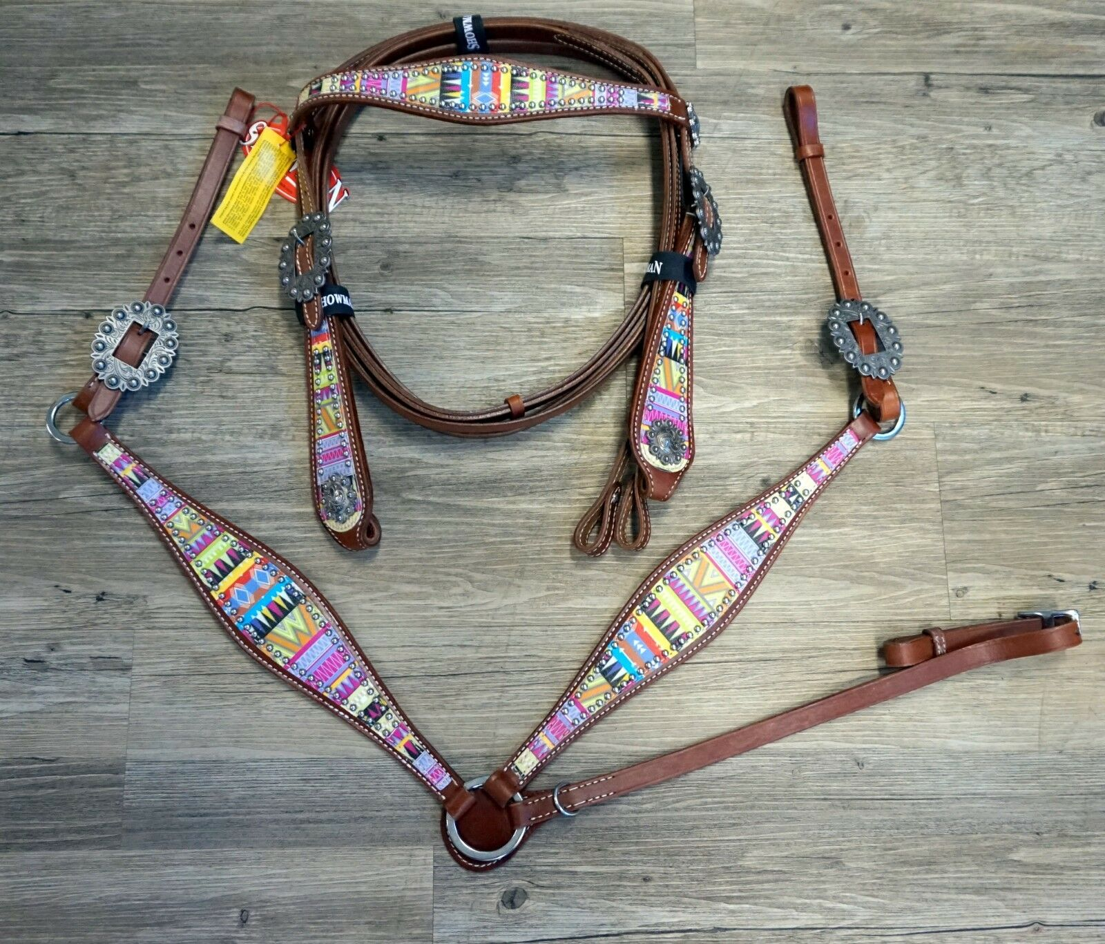 Showman Medium Leather Headstall & Breast Collar w Pastel Aztec Print Overlay