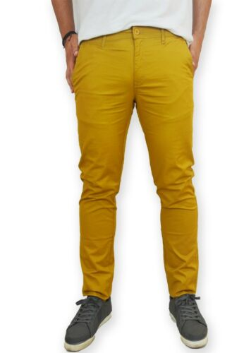 Pantalone uomo chino slim fit elegante tasca americana casual cotone nuovo