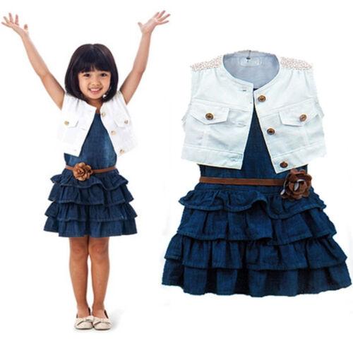 Vest 3pcs Toddler Infant Girls Outfits Denim dress belt Kids Clothes Set