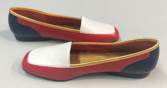 Enzo Angiolini Women's Leather Loafers 'Liberty' Red White Blue Size 8 M